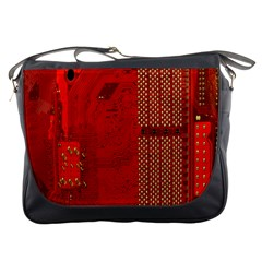 Computer Texture Red Motherboard Circuit Messenger Bags