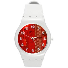 Computer Texture Red Motherboard Circuit Round Plastic Sport Watch (M)