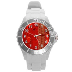 Computer Texture Red Motherboard Circuit Round Plastic Sport Watch (L)