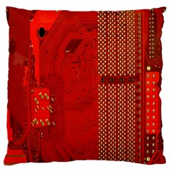 Computer Texture Red Motherboard Circuit Large Cushion Case (Two Sides)