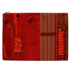 Computer Texture Red Motherboard Circuit Cosmetic Bag (xxl)