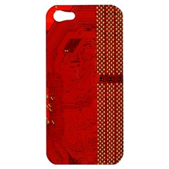 Computer Texture Red Motherboard Circuit Apple iPhone 5 Hardshell Case