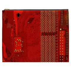 Computer Texture Red Motherboard Circuit Cosmetic Bag (XXXL)