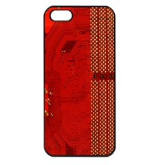 Computer Texture Red Motherboard Circuit Apple iPhone 5 Seamless Case (Black)