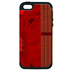 Computer Texture Red Motherboard Circuit Apple iPhone 5 Hardshell Case (PC+Silicone)