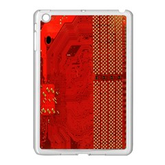 Computer Texture Red Motherboard Circuit Apple iPad Mini Case (White)