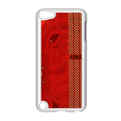 Computer Texture Red Motherboard Circuit Apple iPod Touch 5 Case (White)