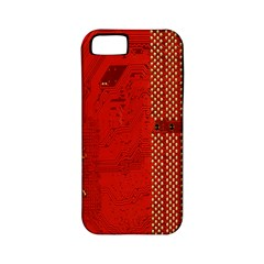 Computer Texture Red Motherboard Circuit Apple iPhone 5 Classic Hardshell Case (PC+Silicone)