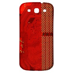 Computer Texture Red Motherboard Circuit Samsung Galaxy S3 S III Classic Hardshell Back Case