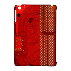 Computer Texture Red Motherboard Circuit Apple Ipad Mini Hardshell Case (compatible With Smart Cover)
