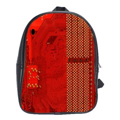 Computer Texture Red Motherboard Circuit School Bags (XL)