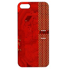 Computer Texture Red Motherboard Circuit Apple iPhone 5 Hardshell Case with Stand