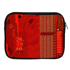 Computer Texture Red Motherboard Circuit Apple iPad 2/3/4 Zipper Cases