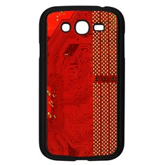 Computer Texture Red Motherboard Circuit Samsung Galaxy Grand DUOS I9082 Case (Black)