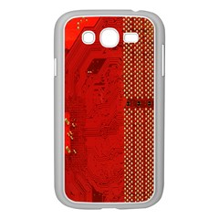 Computer Texture Red Motherboard Circuit Samsung Galaxy Grand DUOS I9082 Case (White)