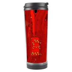 Computer Texture Red Motherboard Circuit Travel Tumbler