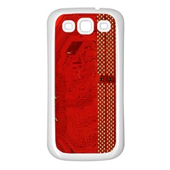 Computer Texture Red Motherboard Circuit Samsung Galaxy S3 Back Case (White)