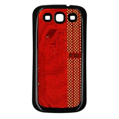 Computer Texture Red Motherboard Circuit Samsung Galaxy S3 Back Case (Black)