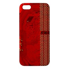 Computer Texture Red Motherboard Circuit iPhone 5S/ SE Premium Hardshell Case