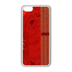Computer Texture Red Motherboard Circuit Apple iPhone 5C Seamless Case (White)