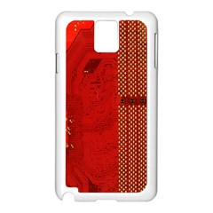 Computer Texture Red Motherboard Circuit Samsung Galaxy Note 3 N9005 Case (White)