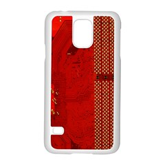 Computer Texture Red Motherboard Circuit Samsung Galaxy S5 Case (White)