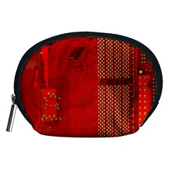 Computer Texture Red Motherboard Circuit Accessory Pouches (Medium)