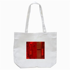 Computer Texture Red Motherboard Circuit Tote Bag (White)