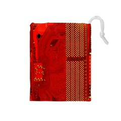 Computer Texture Red Motherboard Circuit Drawstring Pouches (Medium)