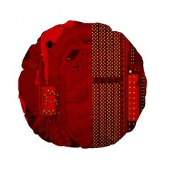 Computer Texture Red Motherboard Circuit Standard 15  Premium Flano Round Cushions