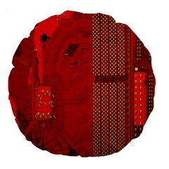 Computer Texture Red Motherboard Circuit Large 18  Premium Flano Round Cushions