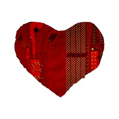 Computer Texture Red Motherboard Circuit Standard 16  Premium Flano Heart Shape Cushions