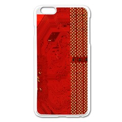 Computer Texture Red Motherboard Circuit Apple Iphone 6 Plus/6s Plus Enamel White Case
