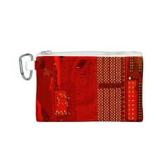 Computer Texture Red Motherboard Circuit Canvas Cosmetic Bag (S)