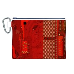 Computer Texture Red Motherboard Circuit Canvas Cosmetic Bag (L)