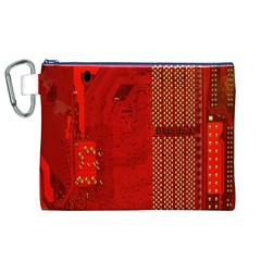 Computer Texture Red Motherboard Circuit Canvas Cosmetic Bag (xl)