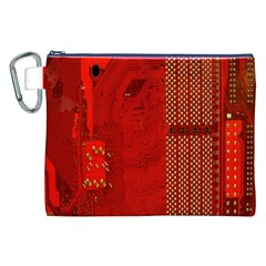 Computer Texture Red Motherboard Circuit Canvas Cosmetic Bag (XXL)
