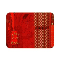 Computer Texture Red Motherboard Circuit Double Sided Flano Blanket (mini)