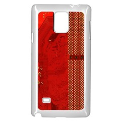 Computer Texture Red Motherboard Circuit Samsung Galaxy Note 4 Case (white)
