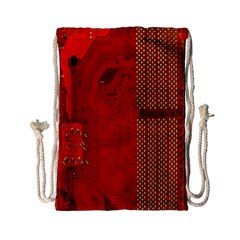 Computer Texture Red Motherboard Circuit Drawstring Bag (small)