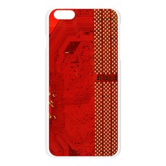 Computer Texture Red Motherboard Circuit Apple Seamless iPhone 6 Plus/6S Plus Case (Transparent)