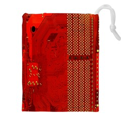 Computer Texture Red Motherboard Circuit Drawstring Pouches (XXL)