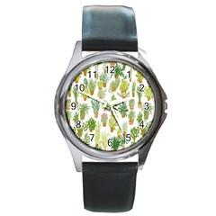 Flowers Pattern Round Metal Watch