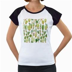 Flowers Pattern Women s Cap Sleeve T