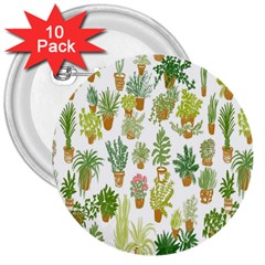 Flowers Pattern 3  Buttons (10 Pack)