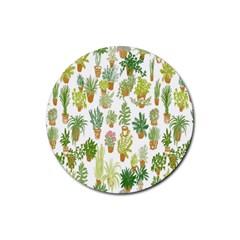 Flowers Pattern Rubber Coaster (Round)