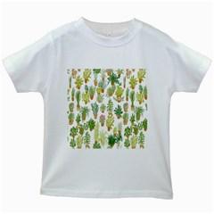 Flowers Pattern Kids White T-Shirts