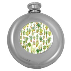 Flowers Pattern Round Hip Flask (5 oz)