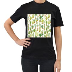 Flowers Pattern Women s T Shirt (black)