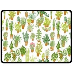 Flowers Pattern Fleece Blanket (Large)